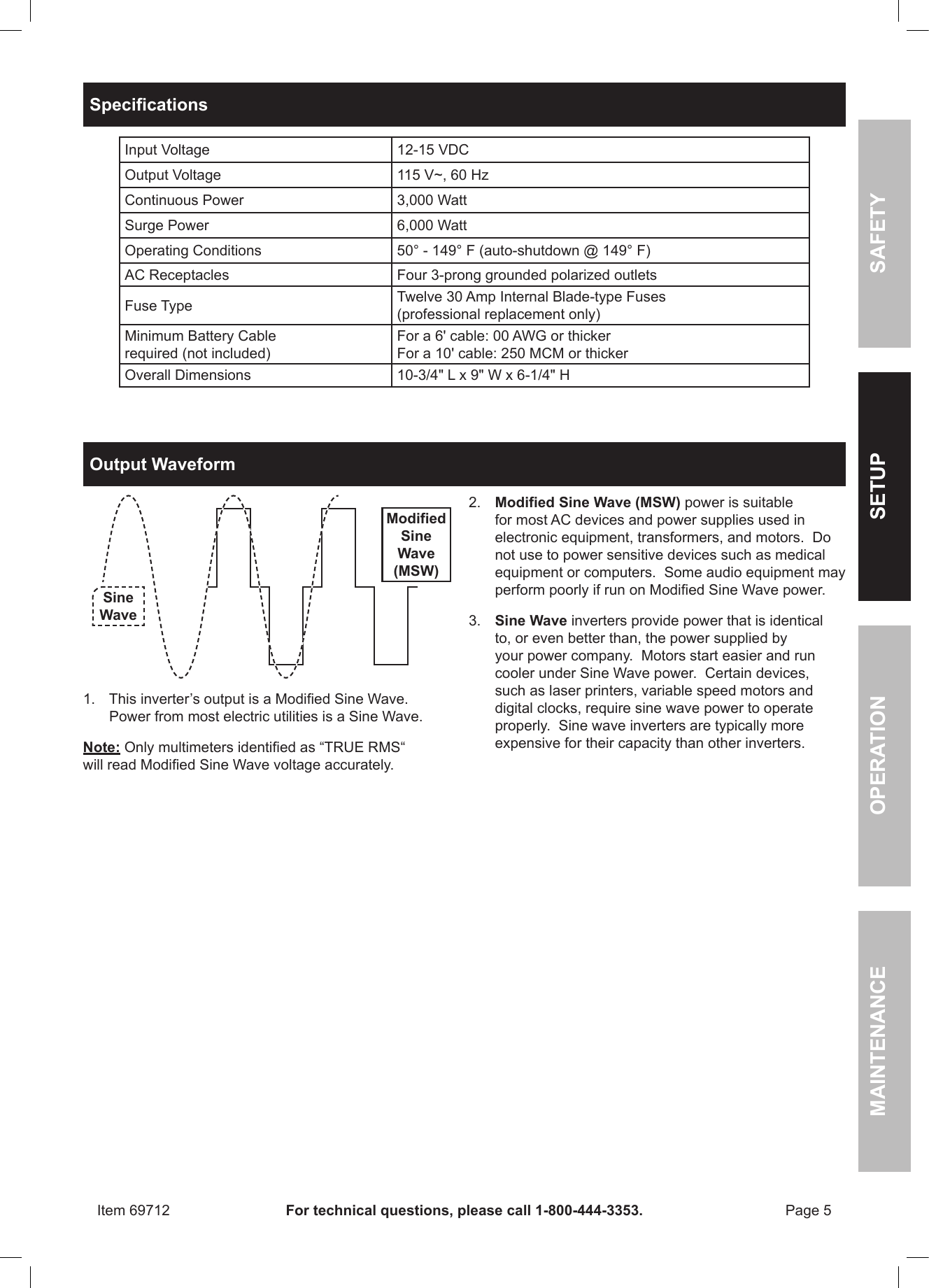 Harbor Freight 3000 Watt Continuous 6000 Peak Power Inverter Product Digital Modified Sine Wave Circuit 250 Watts Electronic Page 5 Of 12