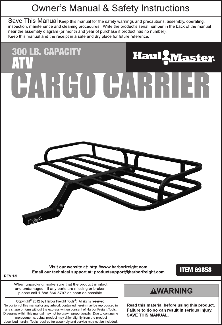 Harbor Freight 300 Lb Capacity Atv Cargo Carrier Product Manual