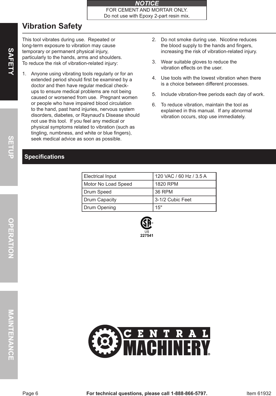 Harbor Freight 3 1 2 Cubic Ft Cement Mixer Product Manual 723128