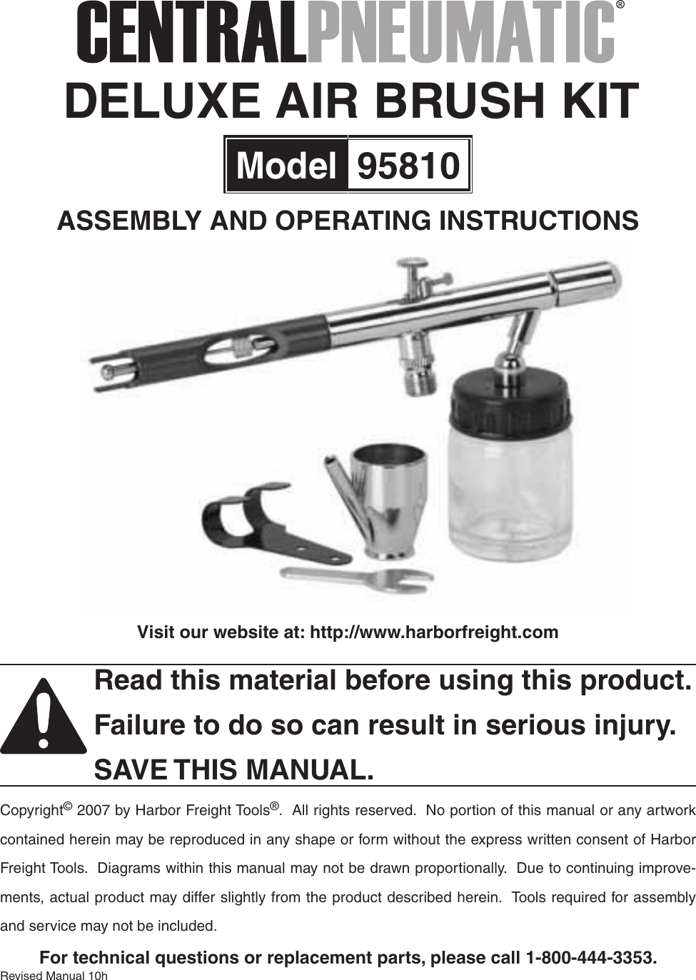 Harbor Freight 3 4 Oz Deluxe Airbrush Kit Product Manual