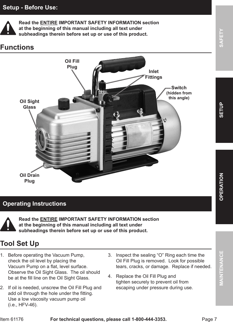 Harbor Freight 3 Cfm Two Stage Vacuum Pump Product Manual