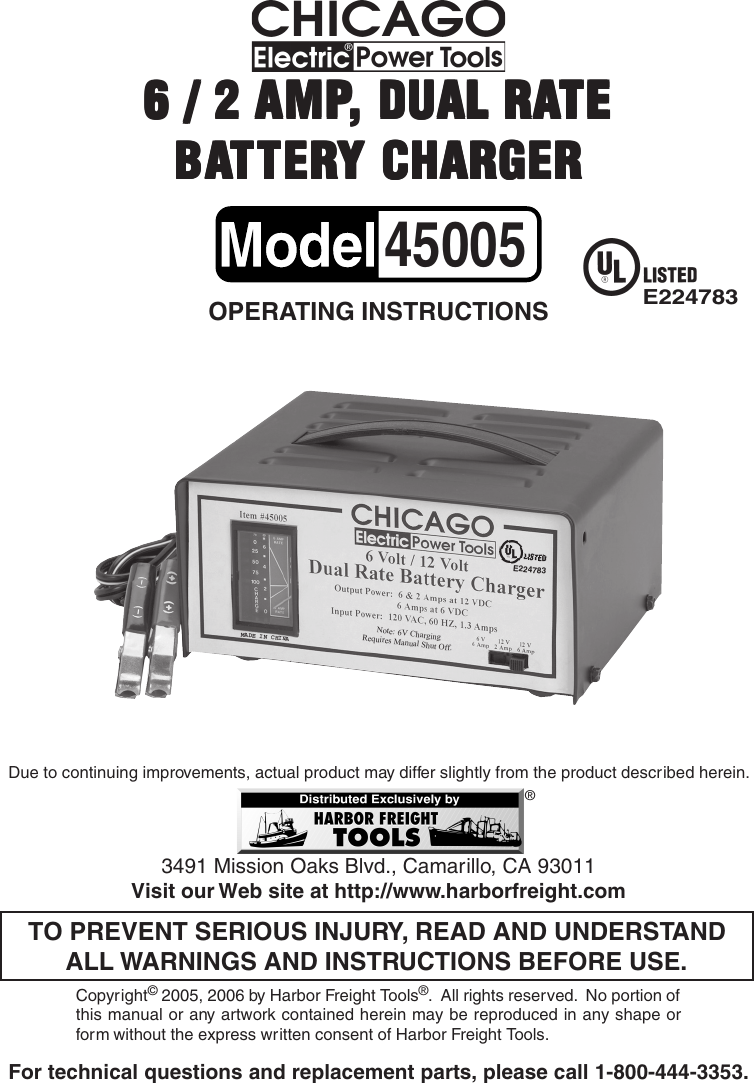 Harbor Freight 45005 Users Manual Battery Charger UserManual.wiki