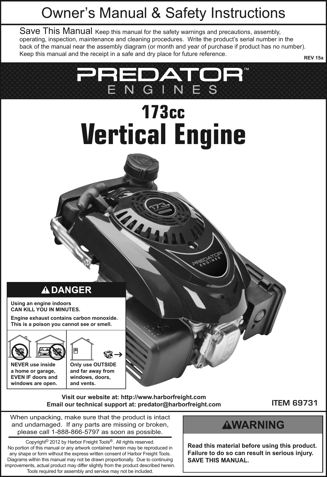 Harbor Freight 5 Hp 173cc Ohv Vertical Shaft Gas Engine
