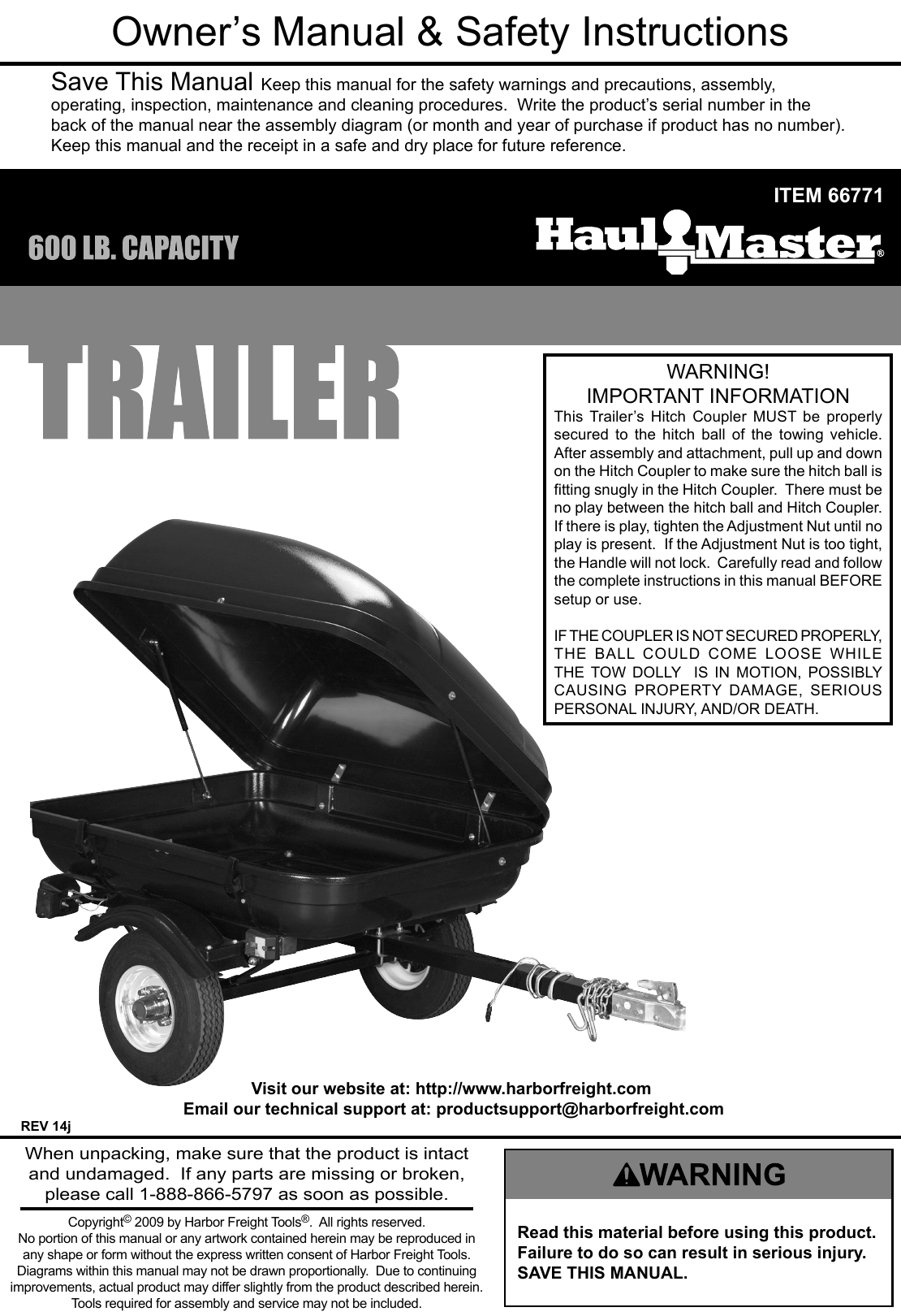 Harbor Freight 600 Lb Capacity 78 In Tag Along Trailer Product Manual