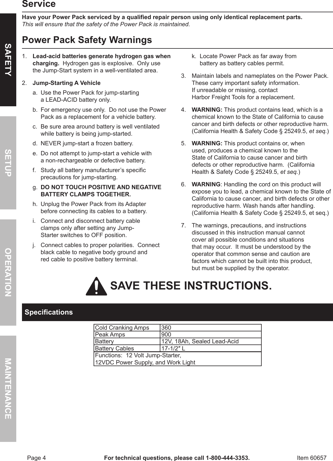 Harbor Freight 60657 Owner S Manual