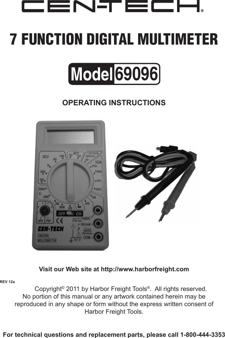 Harbor Freight 7 Function Digital Multimeter Product Manual