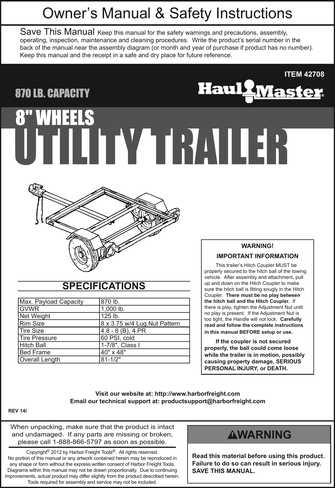 Harbor Freight 870 Lb Capacity 40 In X 49 Utility Trailer Product Manual Hitch Coupler Diagram