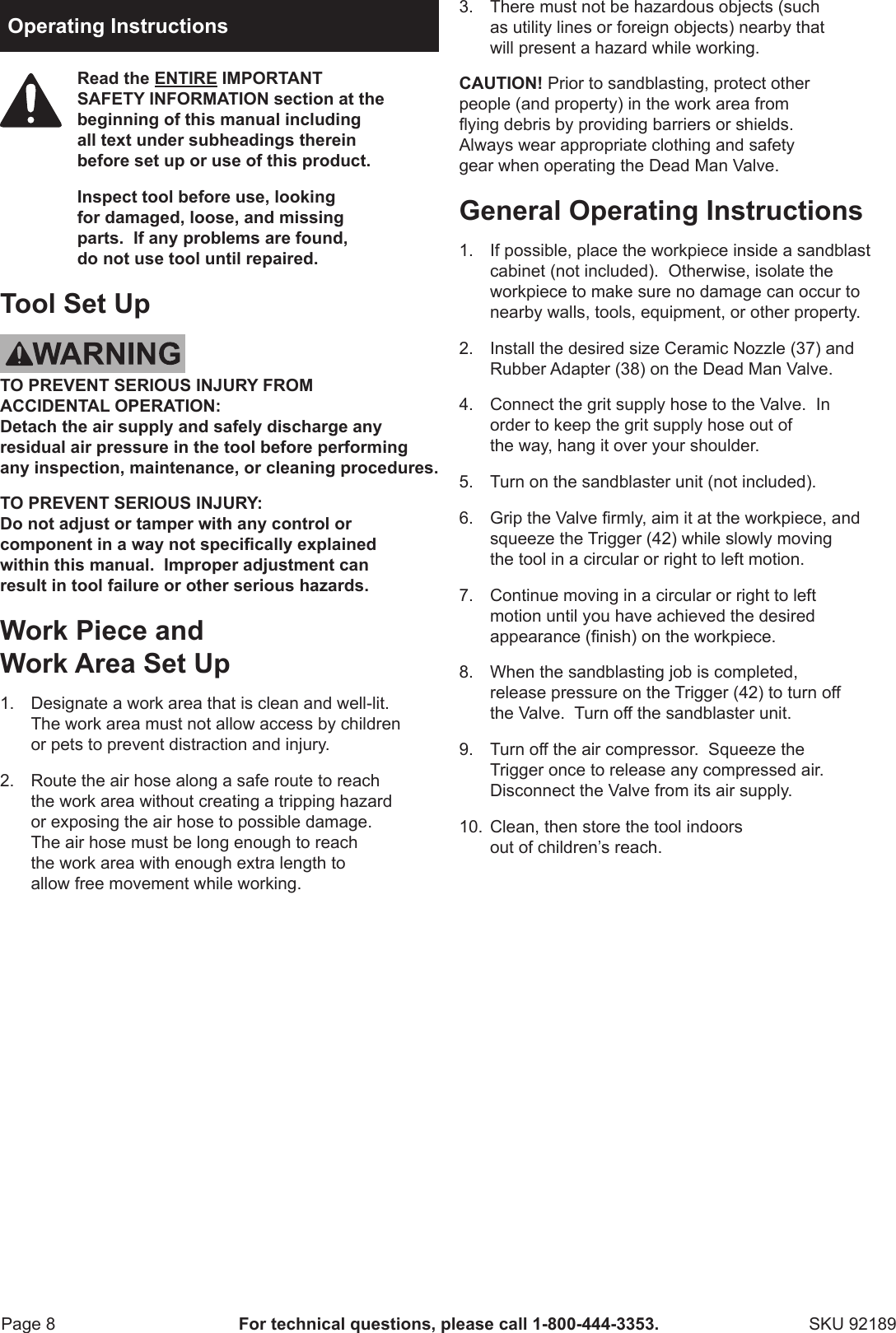 Harbor Freight 92189 Owner S Manual