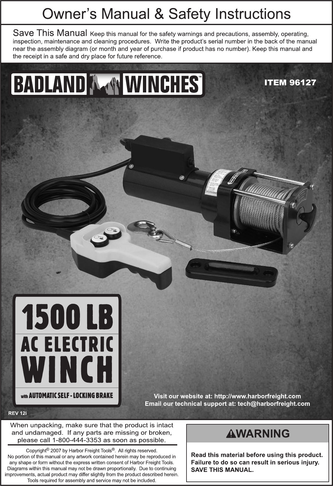 Harbor Freight 96127 Owner S Manual Chicago Electric Winch Wiring Diagram Page 1 Of 12