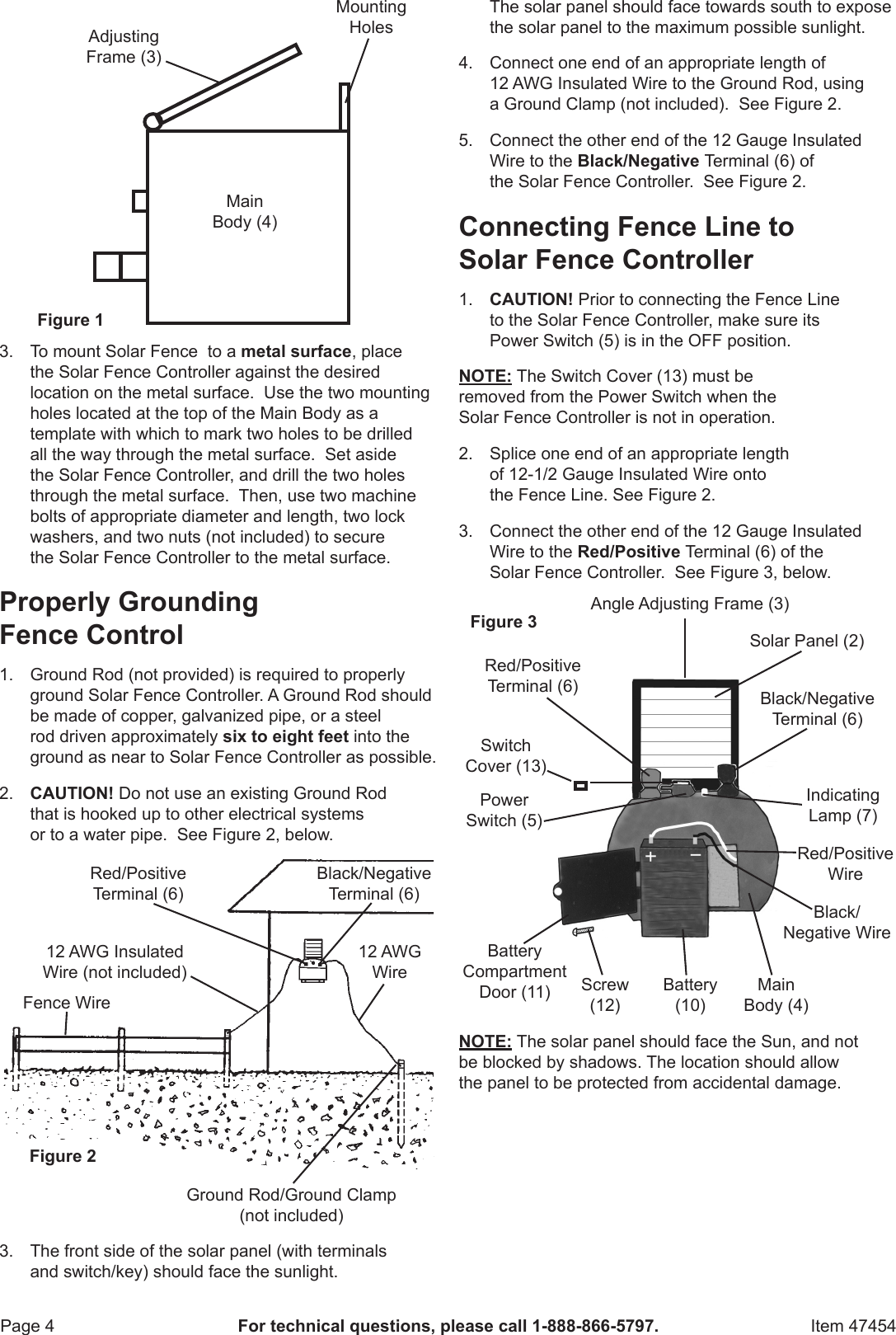Harbor Freight Adjustable Solar Electric Fence Controller Product Manual Charger Wiring Diagram Page 4 Of 8
