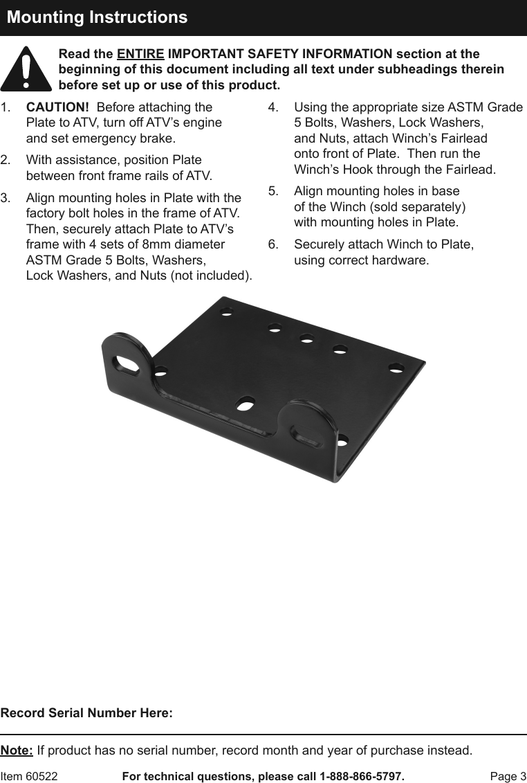 Harbor Freight Atv Utility Winch Mounting Plate Product Manual