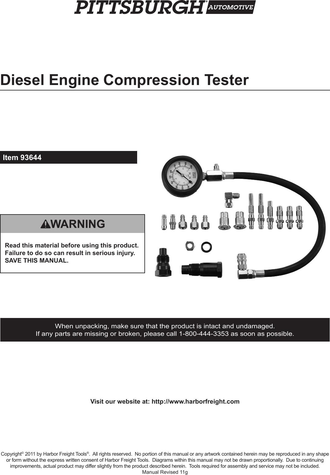 Harbor Freight Diesel Engine Compression Er 20 Pc Product Manual Isuzu 6hk1 Diagram
