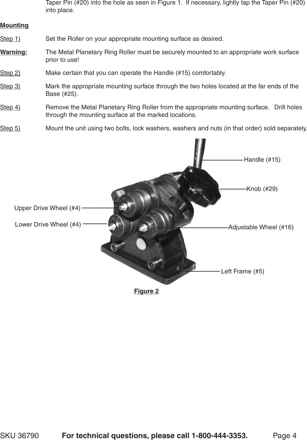 Harbor Freight Gear Driven Ring Roller Product Manual