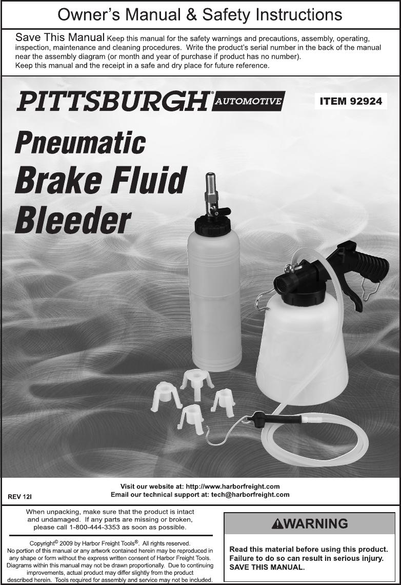 Harbor Freight Pneumatic Brake Fluid Bleeder Product Manual