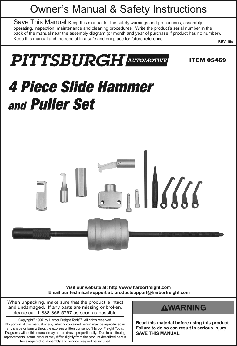 harbor freight hammer and puller set 14 pc product manual rh usermanual wiki User Manual Template Operators Manual