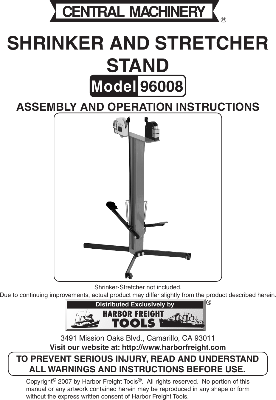 Harbor Freight Stand For Shrinker And Stretcher Machines Product Manual