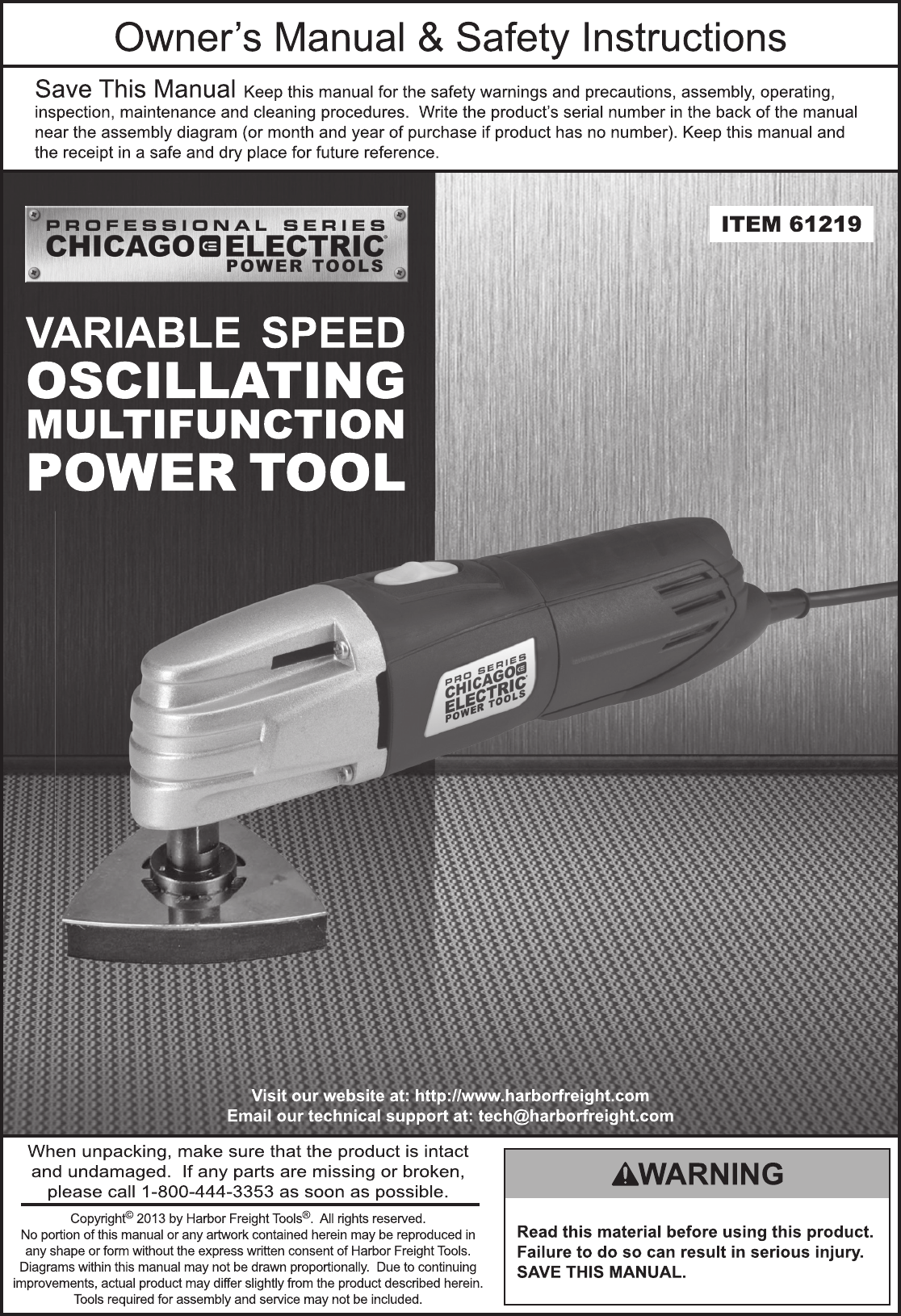 Harbor Freight Variable Speed Oscillating Multifunction Power Tool ...