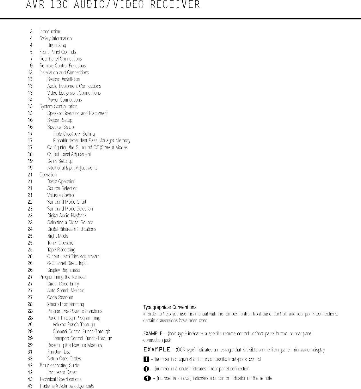 Harman Kardon AVR130 User Manual RECEIVER Manuals And Guides L0311055