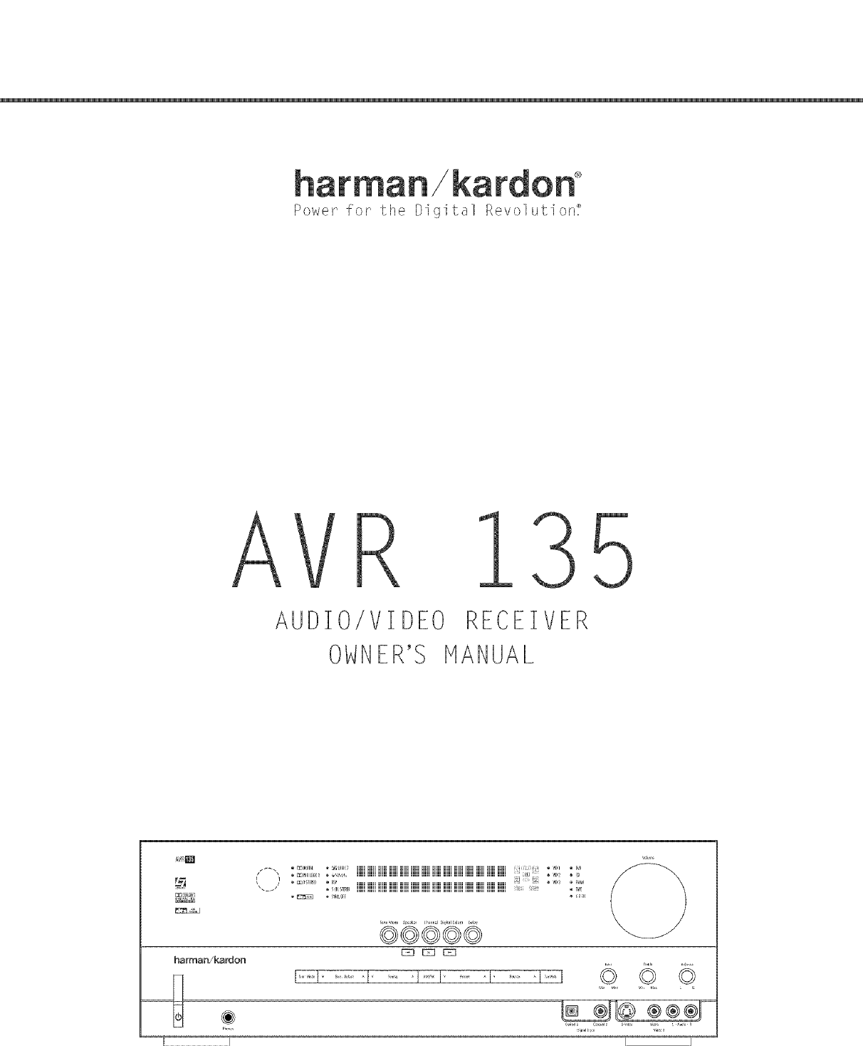 Harman Kardon AVR135 User Manual AV RECEIVER Manuals And