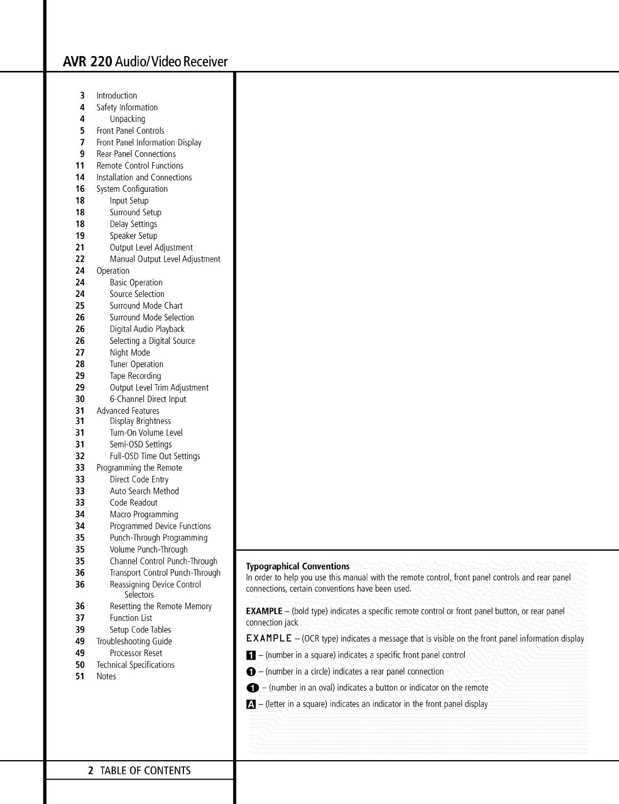 Harman Kardon AVR220 User Manual A/V DIGITAL RECEIVER