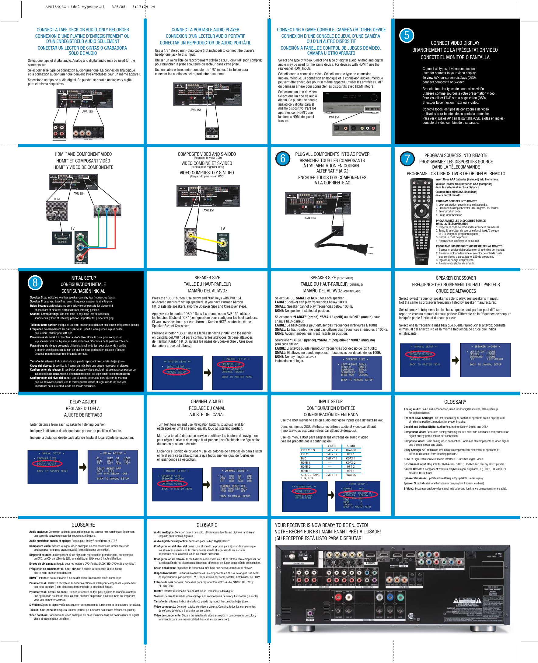 Harman Kardon Avr 154 Users Manual AVR154QSG side2 typeRev