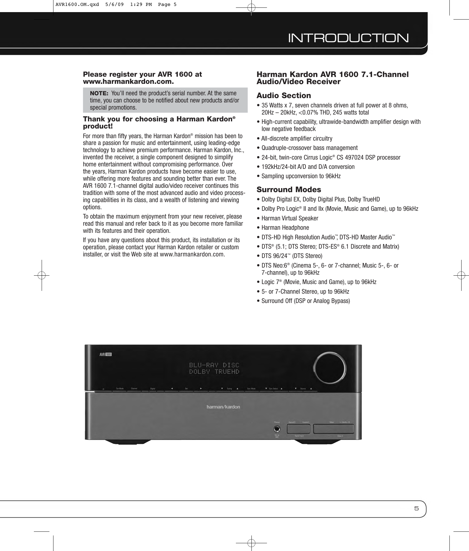 Harman Kardon Avr 1600 Users Manual AVR1600 OM Cover