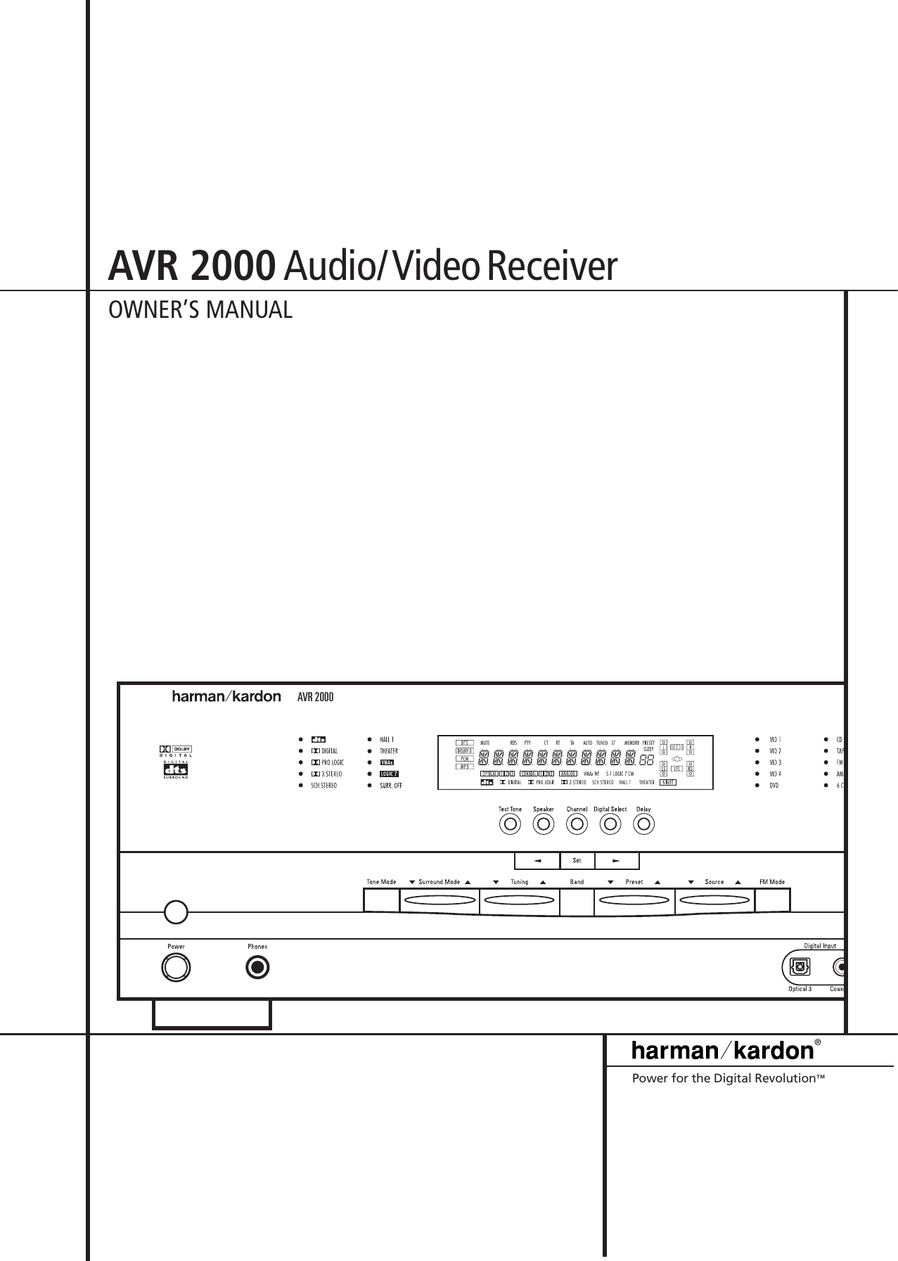 Harman Kardon Avr 2000 Users Manual on