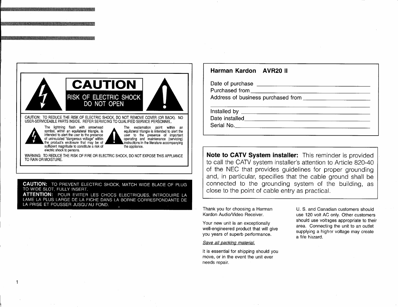 Harman Kardon Avr20Ii Users Manual ManualsLib Makes It Easy