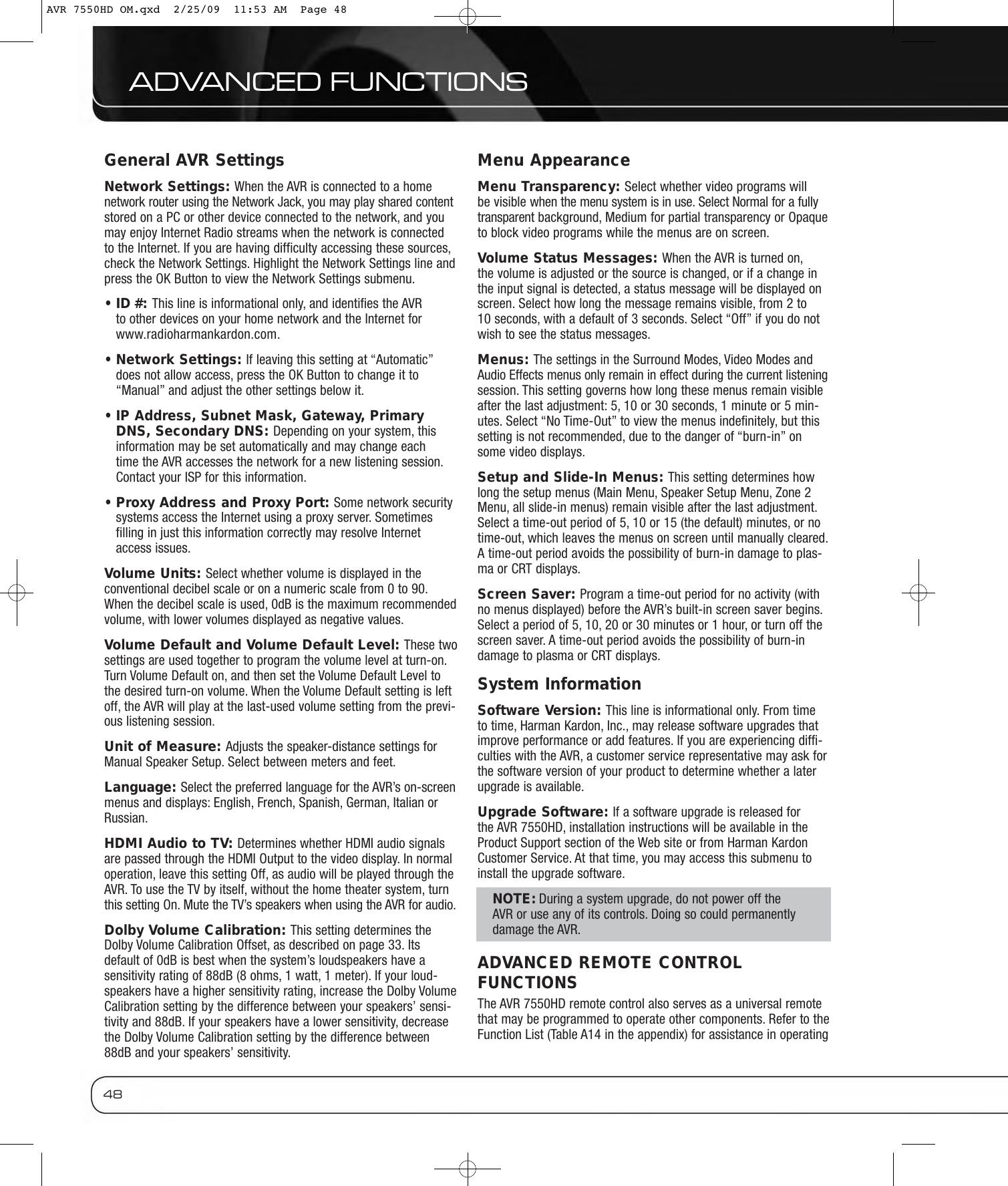 Harman Kardon Avr 7550Hd Users Manual AVR7550HD