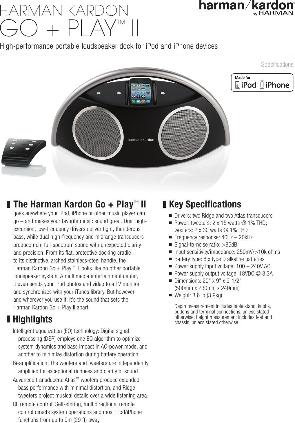 harman kardon go play ii product information sheet rh usermanual wiki harman kardon go play 2 user manual Harman Kardon Boombox