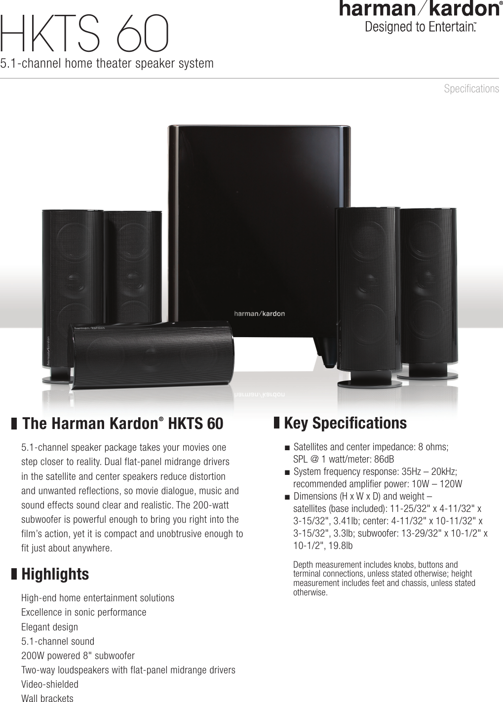 Harman Kardon Hkts 60 Product Information Sheet Wiring Diagram Home Theater Amplifier 5 1 Page Of 2