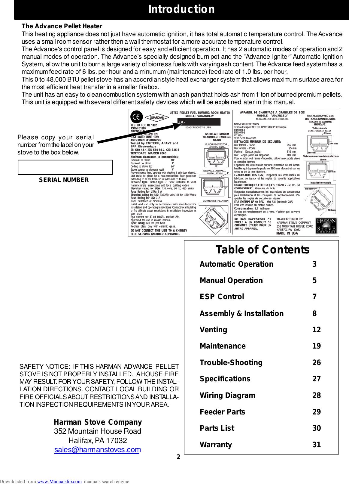 Harman Advance Pellet Stove Instruction Manual ManualsLib ... on