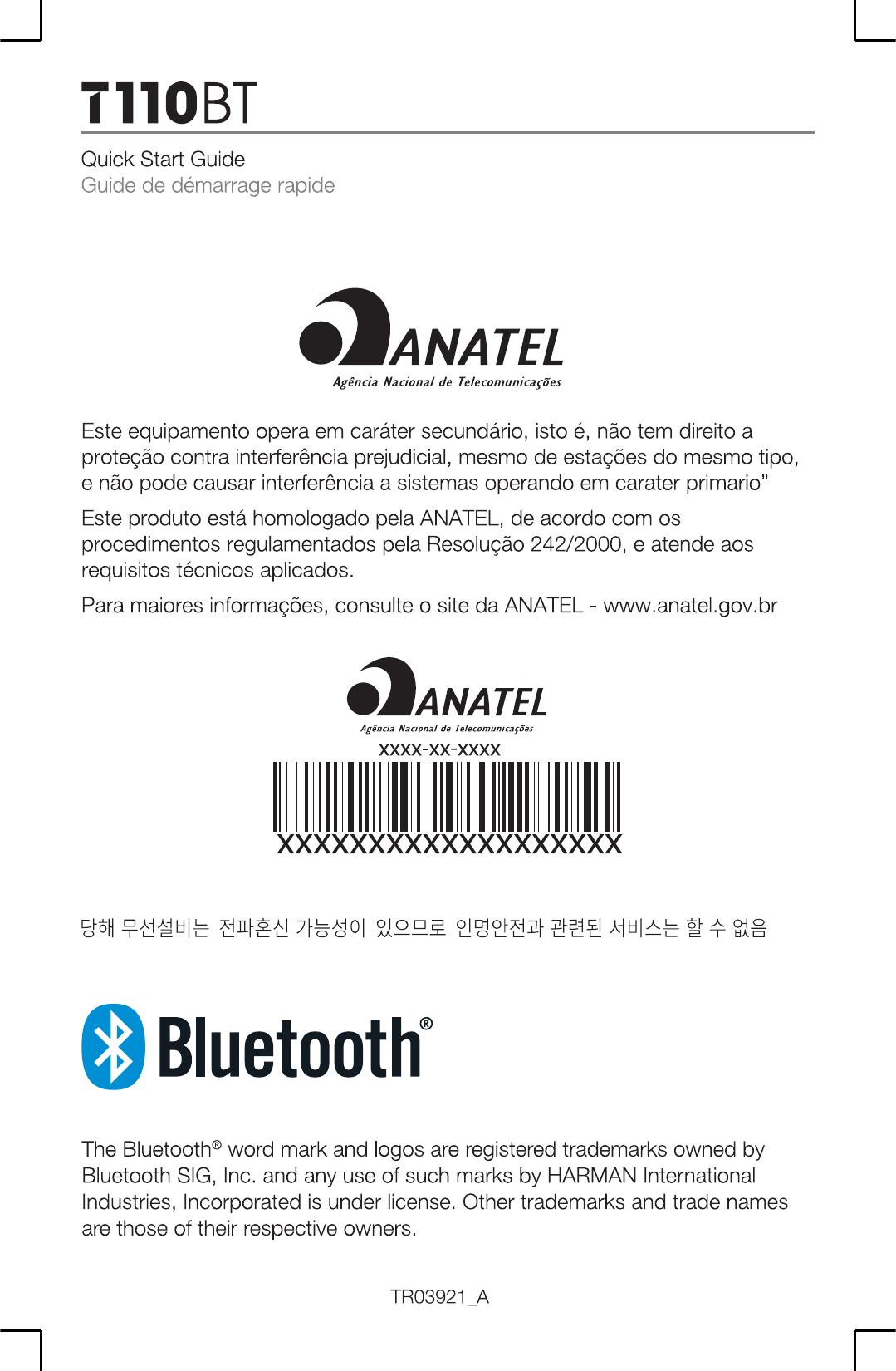 Harman JBLT110BT Bluetooth Headset User Manual TR03921 JBL