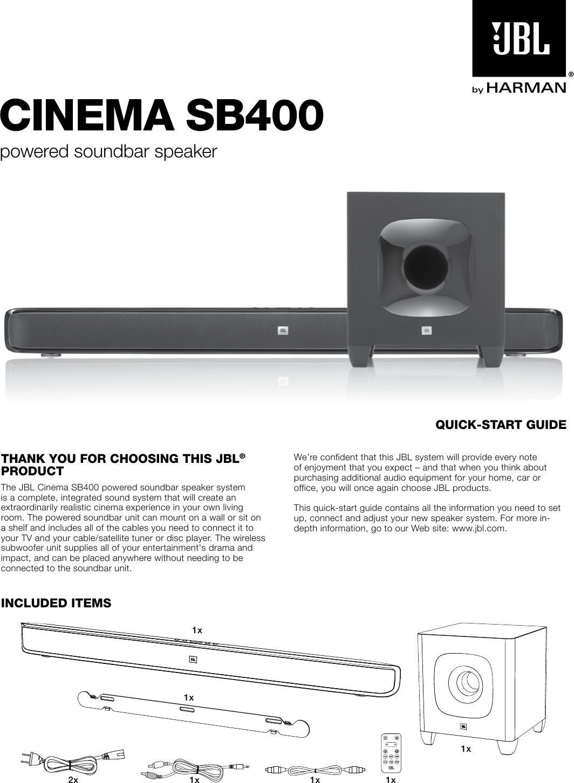 jbl cinema sb 350 user manual