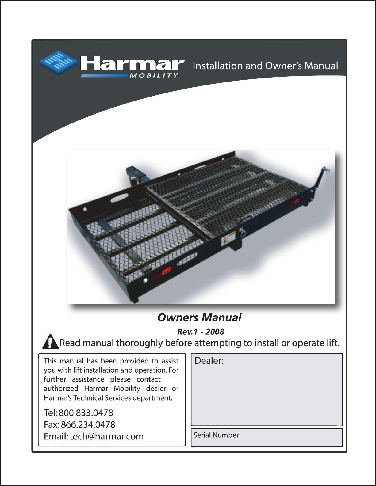 Harmar Mobility Al001 Users Manual on