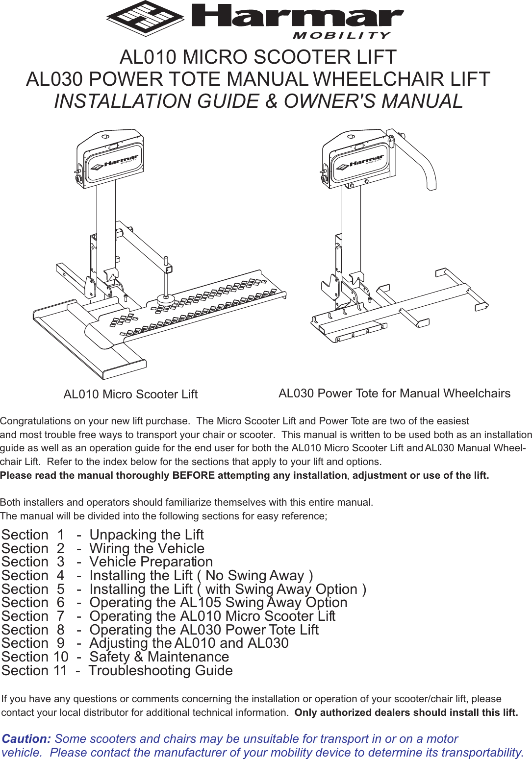 Harmar Mobility Al010 Users Manual And AL030 on