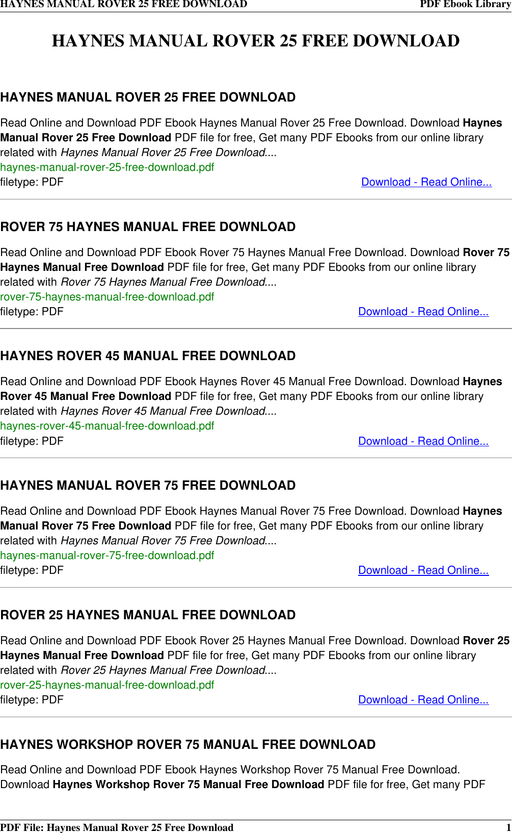 free haynes download
