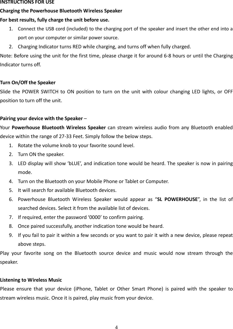 HeYouTai Technology YTK-356 Wireless Speaker User Manual