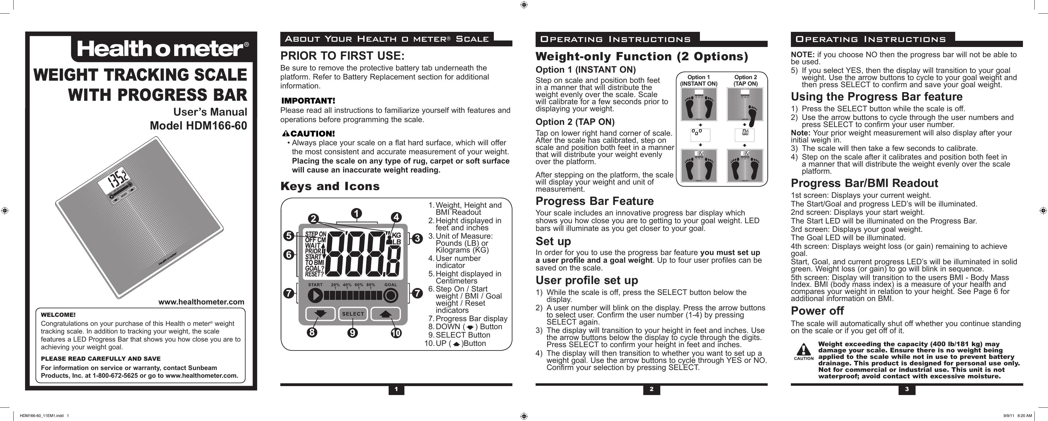 Health O Meter Hdm166dq 60 Owner S Manual