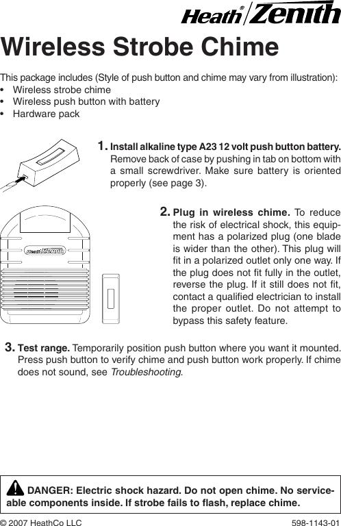 Heath Zenith 598 1143 01 Users Manual