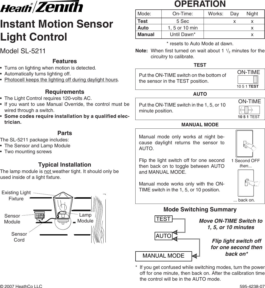 Motion Sensor Light Control Sl 5211