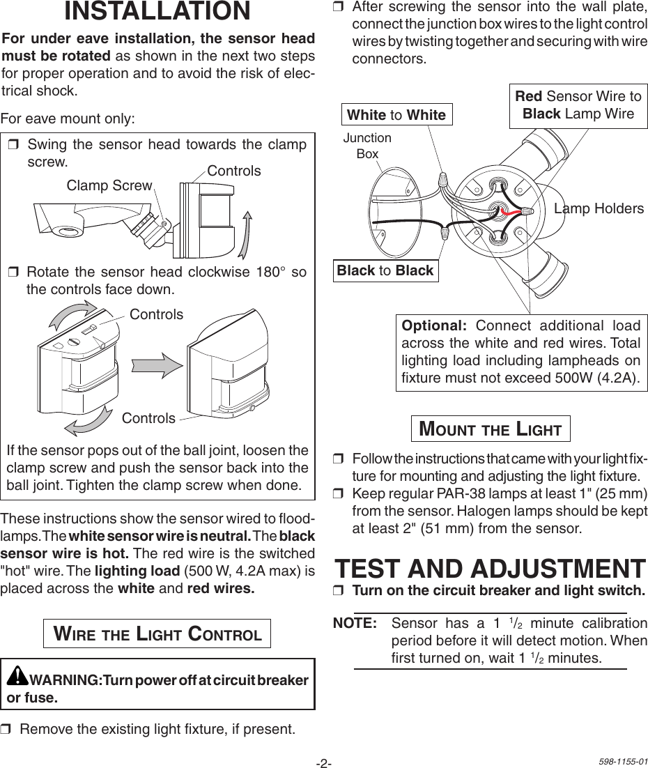Heath Zenith Replacement Motion Sensor Sh 5407 Users Manual 598 1155 01 Wiring Diagram Page 2 Of 8