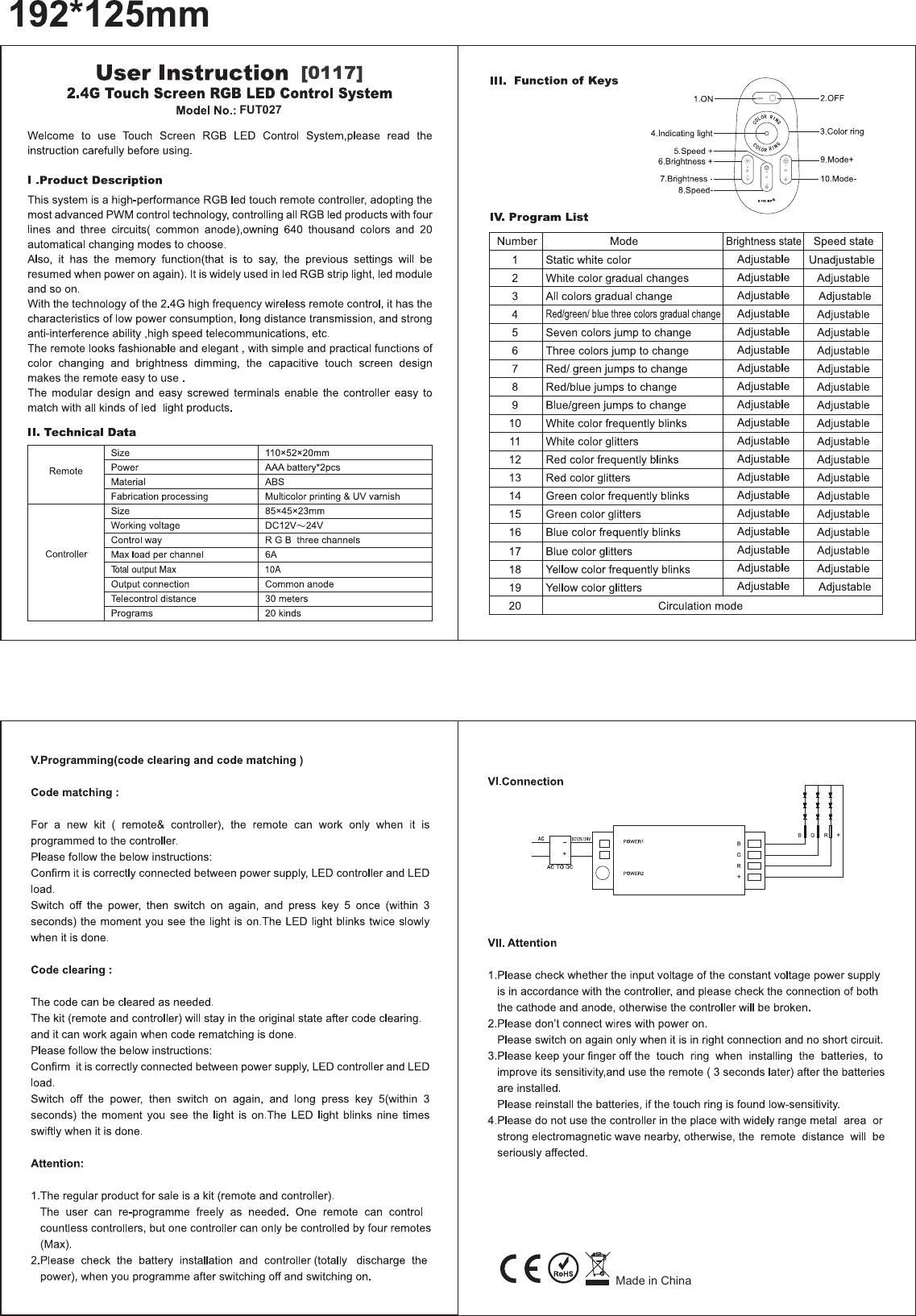 Hebei Pengyuan Optoelectronics FUT027 LED Strip Controller