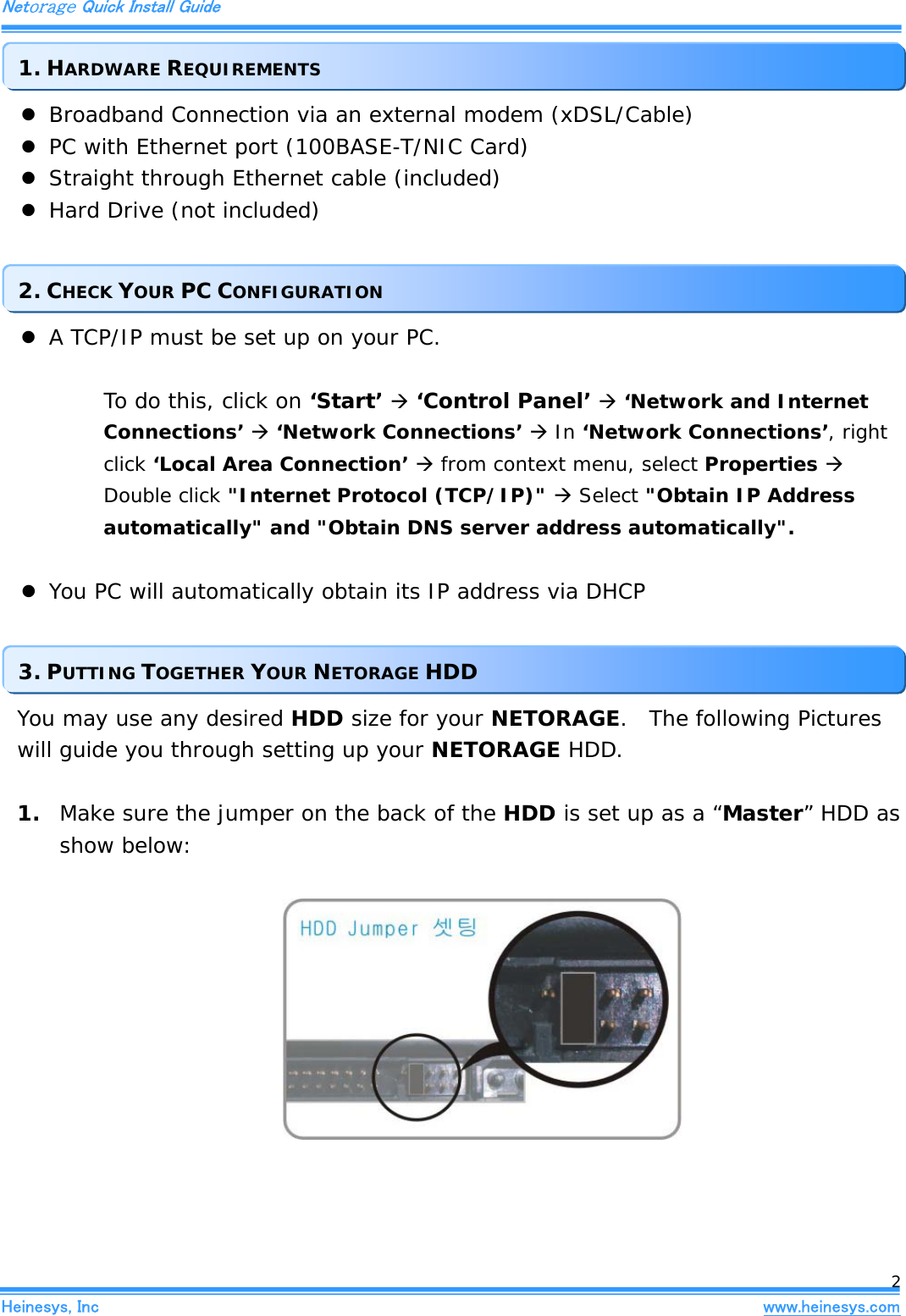 Heinesys Ntg100 Netorage User Manual Straight Through Ethernet Cable Quick Install Guide Inc Heinesyscom 2 Z Broadband Connection