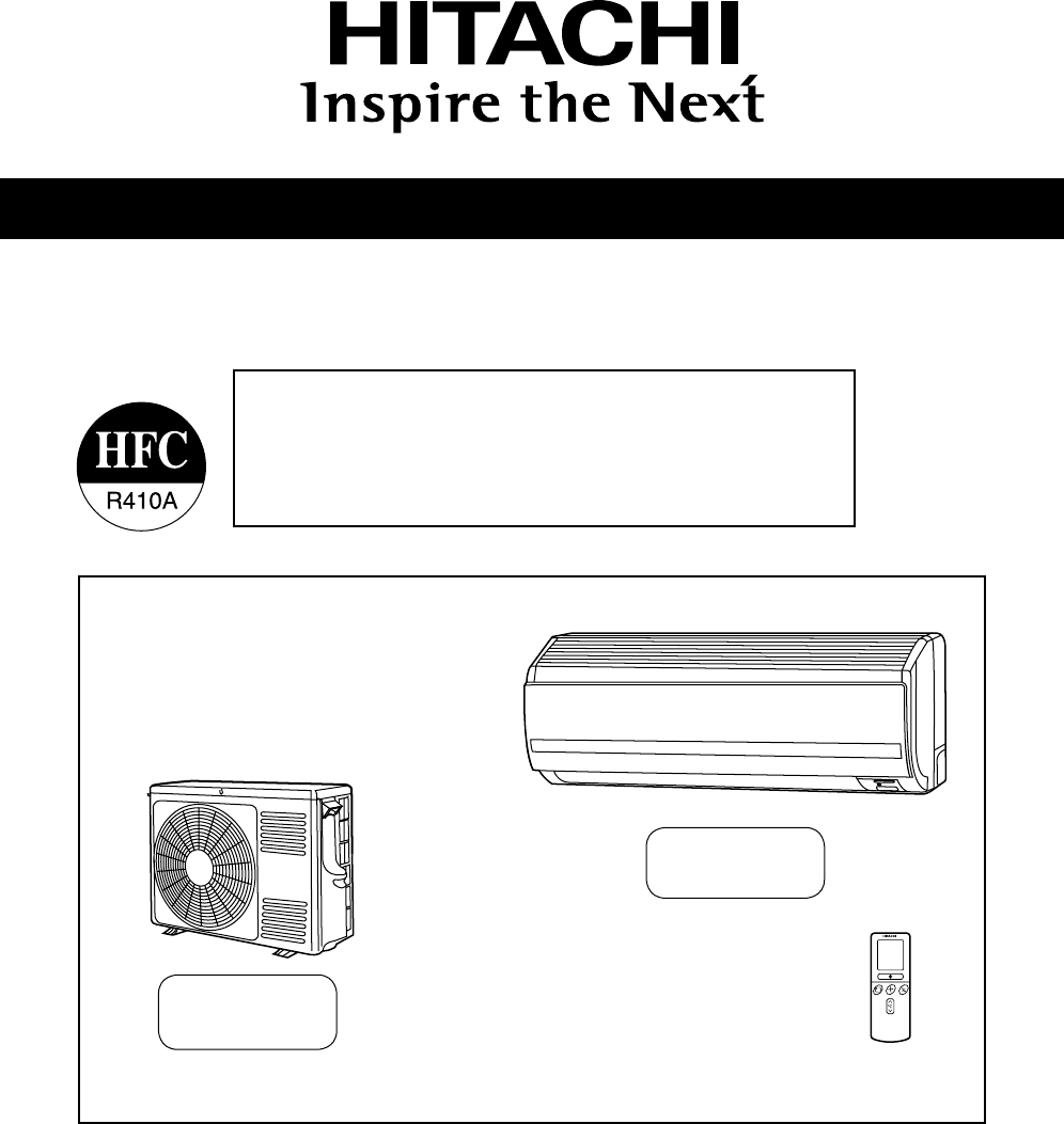 Hitachi Air Conditioner Ras 25Yha Rac 35Yha Indoor Unit Users Manual