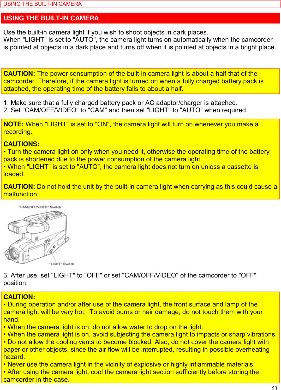 Hitachi Vm 8400La Users Manual 1998 1999 Full Sized Camcorders