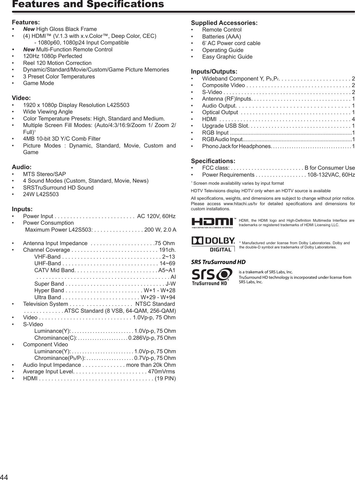 Hitachi L42S Instruction Book 2008