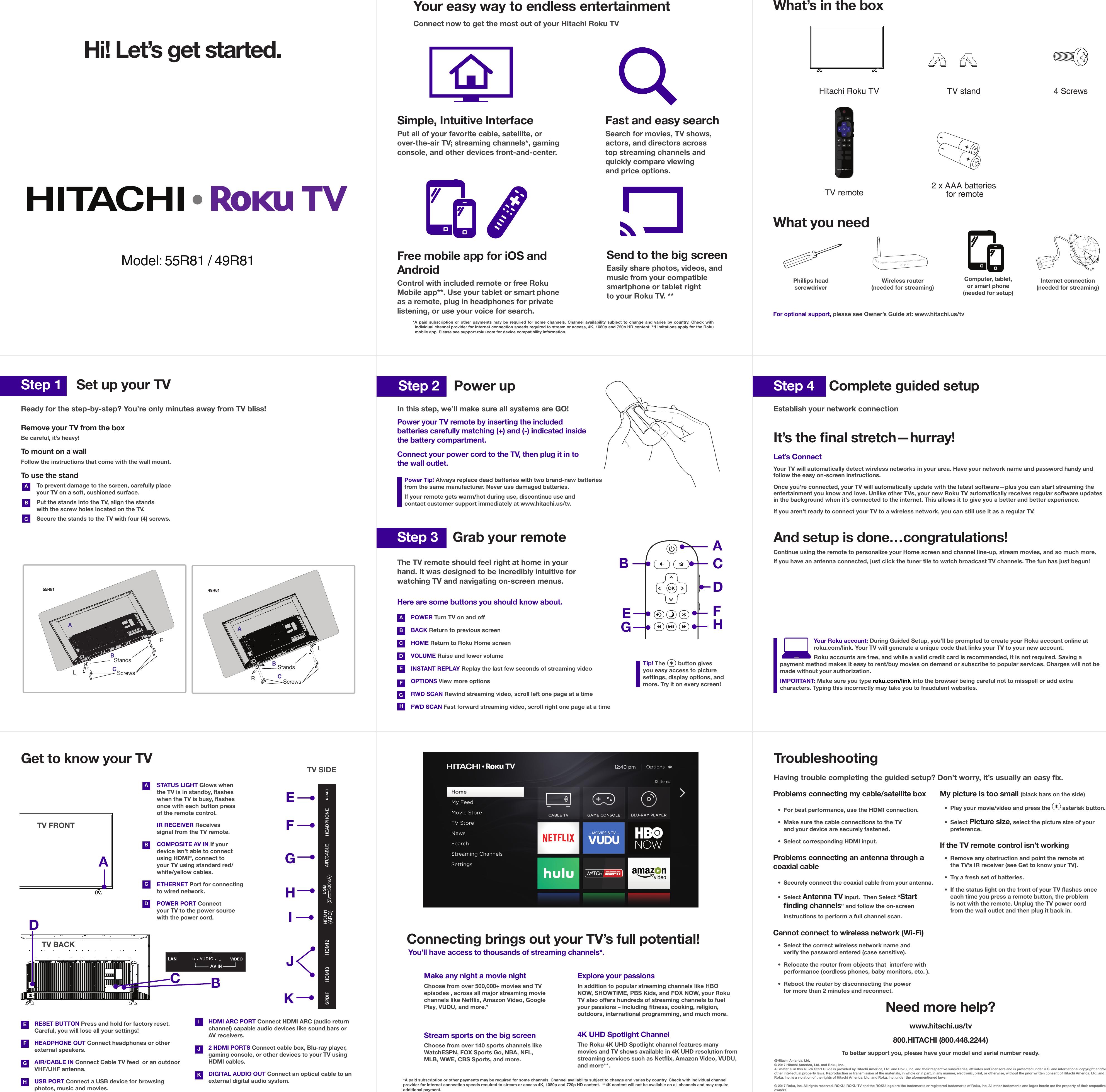 Hitachi Quick Start Guide Qsg Roku R81 11292017 R1 Player Setup Netflix Streaming Movies