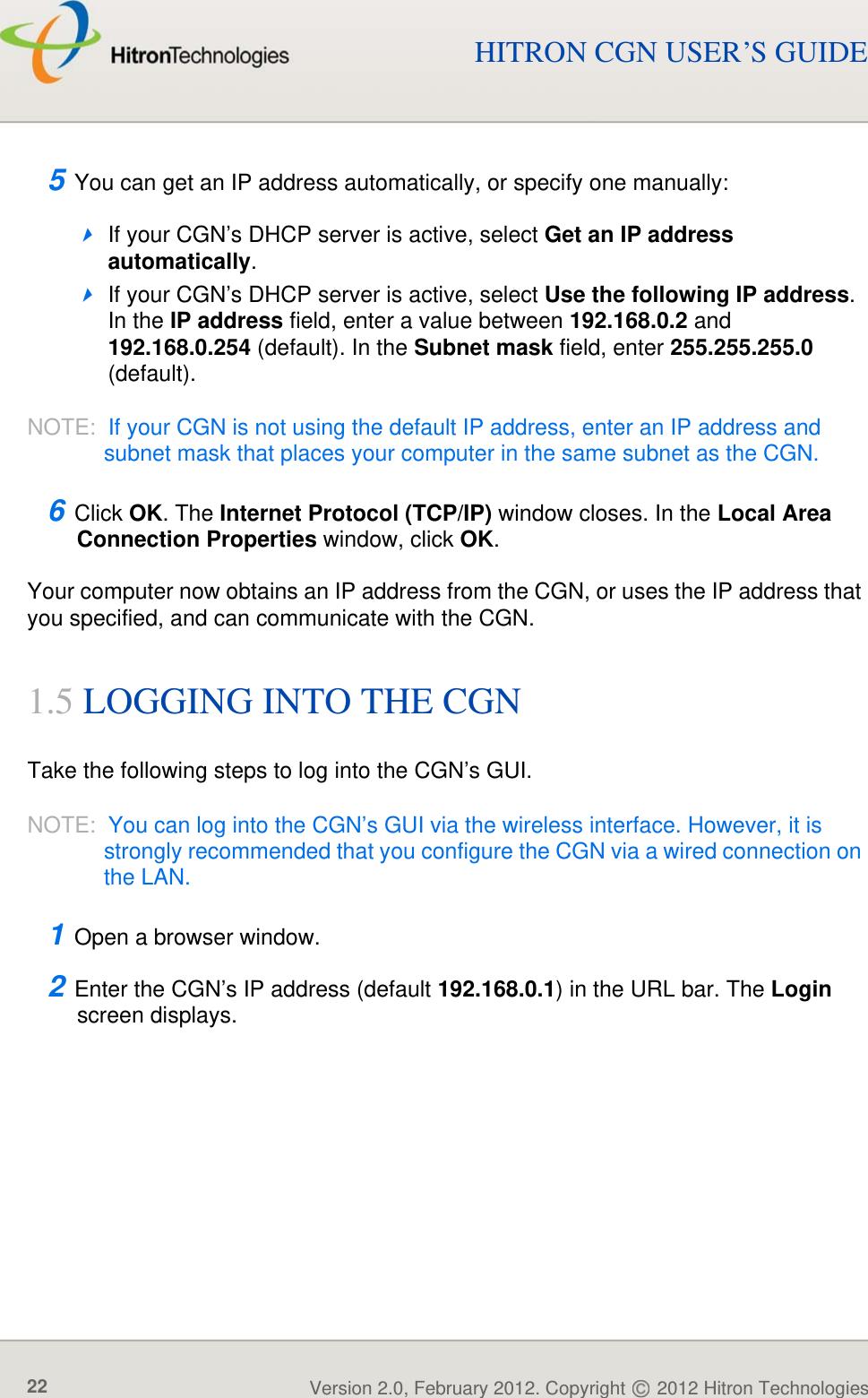 Hitron TECHNOLOGIES CGN01A 3x3 802 11n WiFi Router User Manual