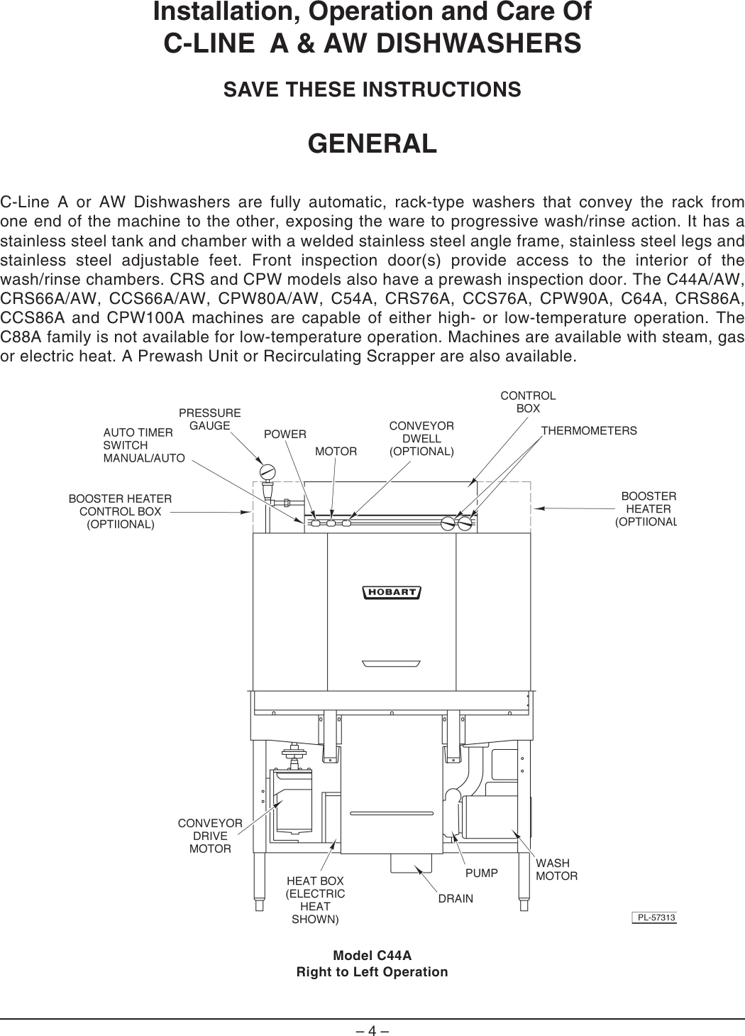 Hobart C44A Ml 104047 Instruction Manual